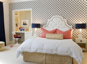 dormitor fete cu tapet