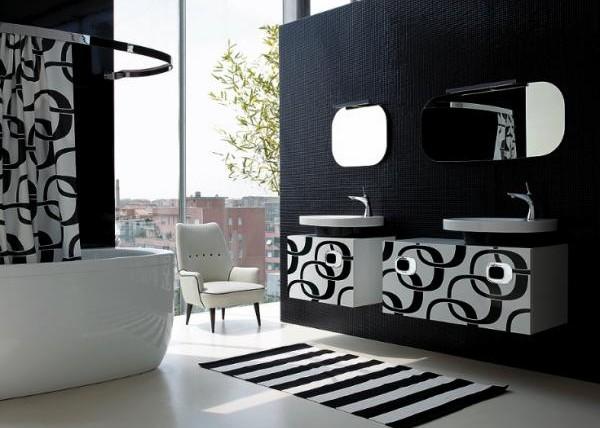 combinatii de faianta baie negru alb