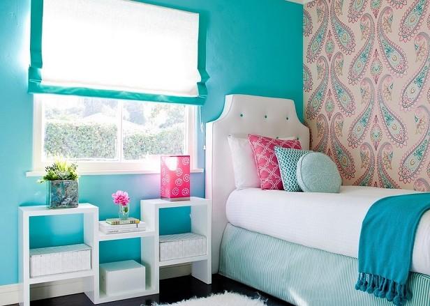 dormitor fete turcoaz
